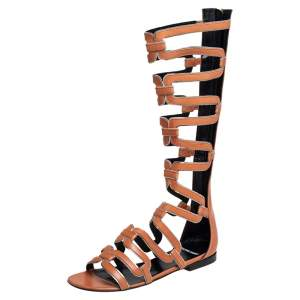 Pierre Hardy Brown Leather Kaliste Gladiator Flat Sandals Size 38