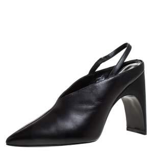 حذاء كعب عالي بيير كاردين جيسي جلد أسود بحزام للكاحل مقاس 38.5