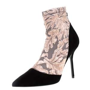 Pierre Hardy Black/Metallic Peach Fabric and Suede Dolly Pointed Toe Ankle Boots  Size 38.5