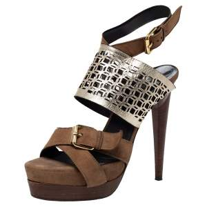 Pierre Hardy Brown Suede and Metallic Cut Out Leather Platform Slingback Sandals Size 39