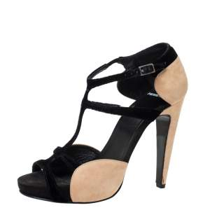 Pierre Hardy Black/Beige Velvet and Suede Caged Platform Sandals Size 39