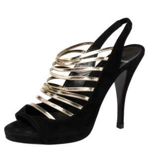 Pierre Hardy Black/Gold Suede Slingback Strappy Peep Toe Sandals Size 38