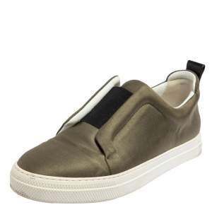 Pierre Hardy Olive Green Satin Slip On Sneakers Size 40