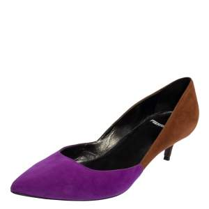Pierre Hardy Brown/Purple Suede Pointed Toe Pumps Size 37