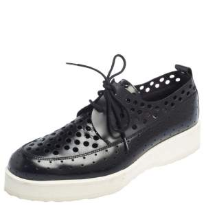 Pierre Hardy Black Leather Oxford Sneakers Size 38