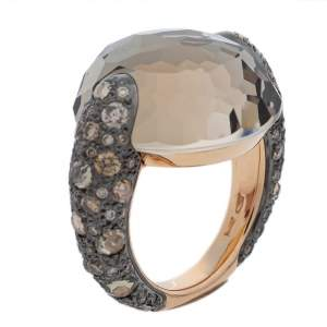 Pomellato Smoky Quartz & Diamond 18K Rose Gold Tango Ring Size 50.5