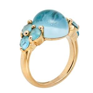 Pomellato Luna Blue Topaz 18K Rose Gold Cocktail Ring Size 54
