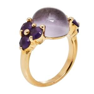 Pomellato Luna  Amethyst 18K Rose Gold Ring Size 54