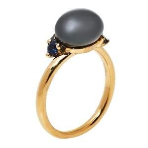 Pomellato Capri Ceramic Blue Sapphire 18K Rose Gold Ring Size 55