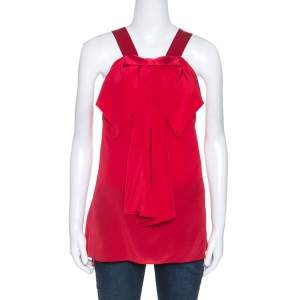 Prabal Gurung Red Silk Draped Bow Detail Sleeveless Top L