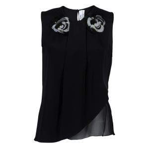 Prabal Gurung Black Rosette Applique Detail Sleeveless Silk Blouse M