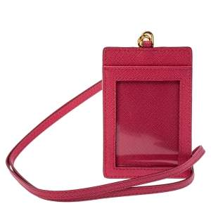 Prada Fuchsia Saffiano Leather ID Badge Holder