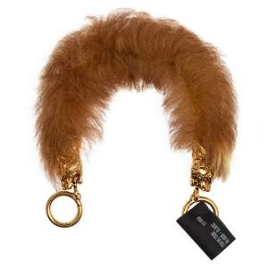 Prada Brown Fur Tiger Head Bag Strap