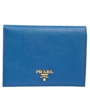 Prada Blue Saffiano Metal Leather Passport Holder