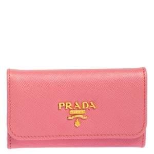 Prada Pink Saffiano Leather Key Holder
