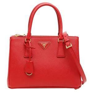 Prada Red Saffiano Leather Lux Galleria Bag