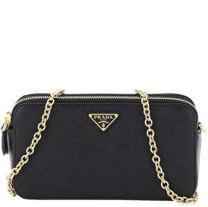 Prada Black Leather Double Zip Chain Mini Bag