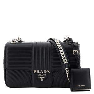 Prada Black Leather Diagramme Medium Bag