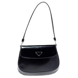 Prada Black Leather Cleo Shoulder Bag