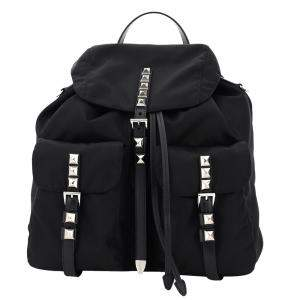 Prada Black New Vela Studded Backpack