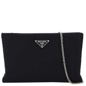 Prada Black Nylon Padded Medium Clutch on Chain Bag