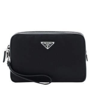 حقيبة صغيرة برادا جلد سافيانو نايلون سوداء