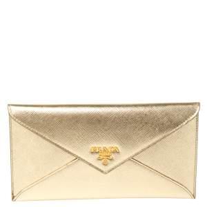 Prada Metallic Gold Saffiano Leather Envelope Wallet