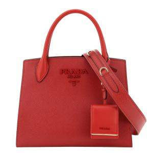 Prada Red Saffiano Leather Monochrome Small Bag