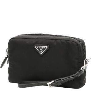 Prada Black Nylon Cosmetic Wristlet Bag