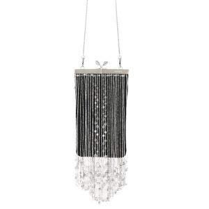 Prada Black Nylon Beaded Fringe Mini Clutch Bag