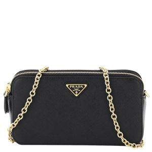 Prada Black Leather Double Zip Chain Mini Bag