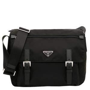 Prada Black Nylon Vela Messenger bag