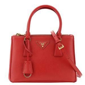 Prada Red Saffiano Leather Lux Galleria Mini Bag