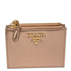 Prada Metallic Rose Gold Vitello Move Patent Leather Zip Snap Wallet