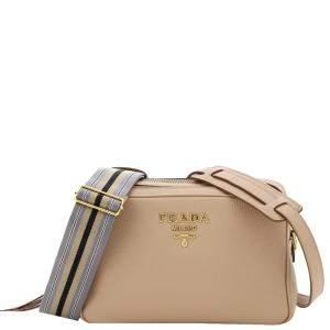 Prada Beige Leather Shoulder Bag