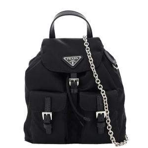 Prada  Black Nylon Mini backpack Bag