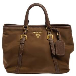 Prada Brown Tessuto Nylon and Leather Tote