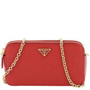 Prada Red Saffiano Leather Double Zip Mini Bag