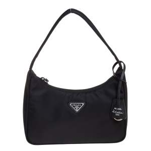 Prada Black Tessuto Nylon Re-Edition 2000 Baguette Bag