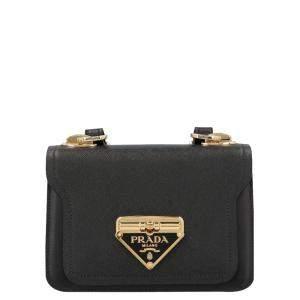 Prada Black Leather Logo Crossbody Bag