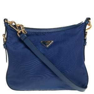 Prada Royal Blue Nylon and Leather Crossbody Bag