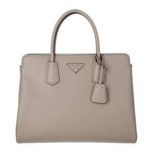 Prada Grey Saffiano Leather Medium Satchel Bag