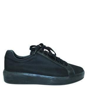 Prada Black Leather Nylon Sneakers