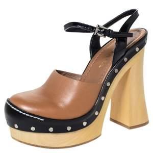 Prada Brown Leather Ankle Strap Platform Clog Sandals Size 38