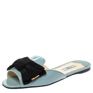 Prada Blue Patent Leather Bow Flat Slides Size 39.5