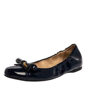 Prada Blue Patent Leather Bow Scrunch Ballet Flats Size 37.5