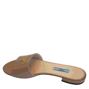 Prada Beige Saffiano Leather Sandals Size EU 38.5