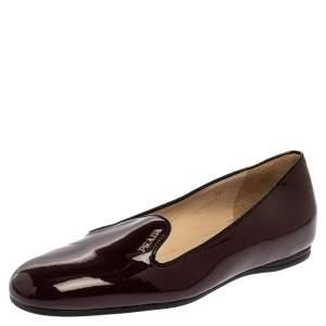 Prada Burgundy Patent Leather Smoking Slipper Flats Size 36