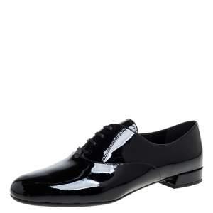 Prada Black Patent Leather Lace Up Oxfords Size 38.5
