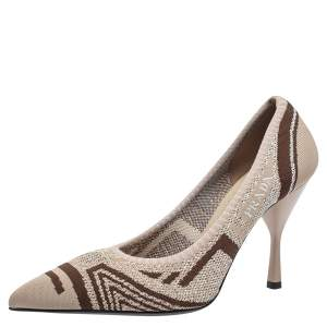 Prada Beige Knit Fabric Pointed Toe Pumps Size 39